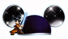 Cabezas de Mickey y Minnie con gorros para celebraciones.