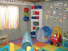 Makeshift playroom in an unfinished basement Playrooms Ideas, Plays Rooms, Playrooms Decor, Unfinished Basements Playrooms, Makeshift Playrooms, Floors Mats, Basements Ideas, Plays Area, Kids Rooms