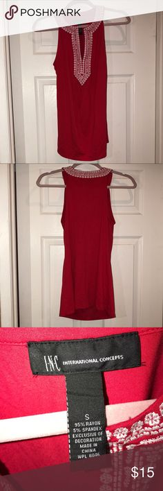 Size Small INC sleeveless top Red top no sleeves pink in front super cute INC International Concepts Tops