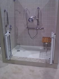 Adding adaptive equipment to showers helps individuals with SCI perform bathing tasks more independently.