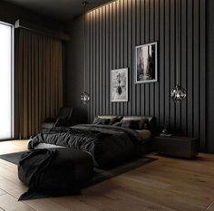 Hotel Bedroom Design, Black Bedroom Design, Bedroom Setup, Home Room Design, Design Kitchen, House Design, Black Master Bedroom, Master Bedroom Interior, Home Decor Bedroom