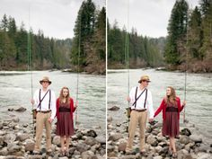 Snoqualmie Falls wedding photography fly fishing engagement a river runs through it
