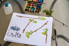 twig sketches in watercolor