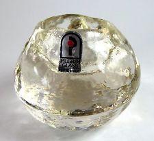 Pilgrim Glass Ice Ball Iceball Votive Candle Holder Clear #371 Foil Label