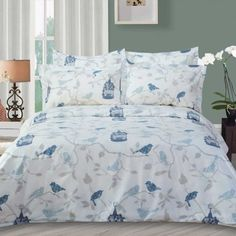 Buy Highland Feather Bird Duvet Cover Set, Highland Feather and Bedding Sets & Duvet Covers from The Shopping Channel, Canada's home shoppin. King Size Comforter Sets, Duvet Bedding Sets, 100 Cotton Duvet Covers, Duvet Cover Sets, Bed Covers, Ikea, Pottery Barn Teen Bedding, Bedding Sets Online, Modern