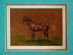 Vintage 1960s Velvet Painting Horse Painting by SpearmintGallery
