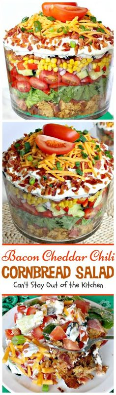 Bacon Cheddar Chili Cornbread Salad | Can't Stay Out of the Kitchen | this awesome #salad is to die for! It has a savory homemade #bacon #cornbread & uses homemade #RanchDressing mix. This fabulous Texas-style salad is great for potlucks and backyard barbecues. #glutenfree (Pinned 3.65k)