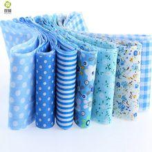 7 unids/lote jelly roll conjuntos de tiras de tela de costura textil azul 5 cm x 100 cm tildas acolchar muñeca de paños 100% algodón(Hong Kong)