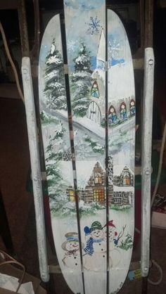 Vintage hand painted sled....