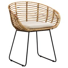 The Pablo Dining Chair by Dovetail is part an eclectic range of handmade furniture, accessories and textiles.  Iron legs in black finish Handwoven rattan frame Loose cushion , seat height 18""