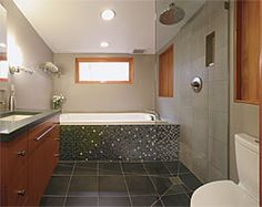 Open Shower - the vanity cabinet is cantilevered from the wall so that water can flow beneath it. - Wide-Open Baths for Small Spaces - Fine Homebuilding Article Loft Bathroom, Bathroom Wall Decor, Bathroom Layout, Small Bathroom, Open Showers, Small Showers, New Bathroom Ideas, Bathroom Inspiration, Open Baths