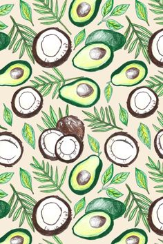 """Coconuts & Avocados"" Art Print by Tangerine-Tane on Society6 #pattern"