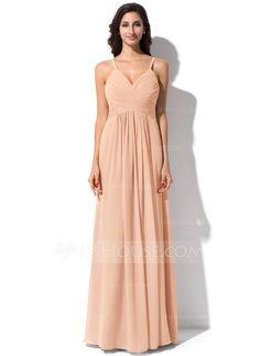 $106 A-Line/Princess V-neck Floor-Length Chiffon Bridesmaid Dress With Ruffle (007063015) - JJsHouse