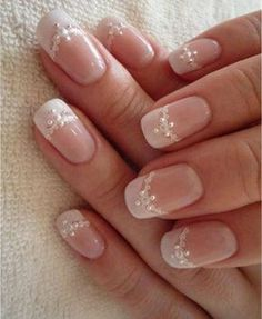 Design de unhas de noiva e casamento fotos de unhas de casamento - Braut Nägel - Bridal nails - Elegant Nail Designs, Elegant Nails, Nail Art Designs, Classy Nail Art, Fingernail Designs, Wedding Day Nails, Wedding Nails Design, Wedding Nails For Bride Natural, Simple Wedding Nails