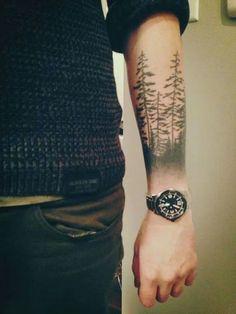 45 inspirierende Wald Tattoo-Ideen – Tattoo For Women Forest Tattoo Sleeve, Forest Forearm Tattoo, Forest Tattoos, Cool Forearm Tattoos, Body Art Tattoos, New Tattoos, Tattoos For Guys, Sleeve Tattoos, Tattoos For Women