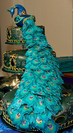 Indian Weddings Inspirations. Peacock Wedding Cake. Repinned by #indianweddingsmag indianweddingsmag.com #weddingcake