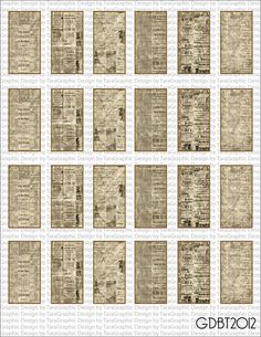 """Vintage Newspaper Digital Image Sheet for 1""""x2"""" Domino Pendant Personal and Commercial Use"""