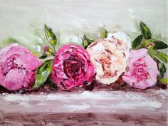 ARTFINDER: Row of Peonies by Emma Bell - picked fresh, the pretty flowers lie in waiting on the table. Wrapped Giclee Print of my original painting 'Row of Peonies' H. Peony Painting, Oil Painting On Canvas, Painting Prints, Canvas Art, Flower Paintings, Art Floral, Abstract Flowers, Watercolor Flowers, Painting Inspiration