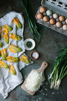 A Daily Something | Squash Blossom Frittata with Chives and Manchego
