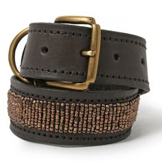 Copper Glass Beads Leather Dog Collar