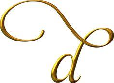 Alfabeto en minúsculas, dorado.