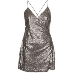 TOPSHOP **Sequin Strappy Dress by WYLDR ($25) ❤ liked on Polyvore featuring dresses, vestidos, gunmetal, low back cocktail dress, brown dress, low cut back dress, brown wrap dress and strappy dress