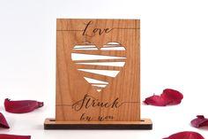 Valentines Day Card - Real Mini Wood Card - Valentine Heart - Lovestruck