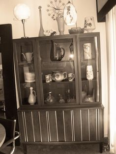 midcentury danish modern china cabinet hutch buffet bookcase