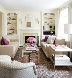 Photo Gallery: Traditional Living Rooms | House & Home Love the symmetry and colours!