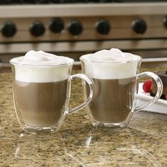 Hot Chocolate or Latte anyone? Get the BonJour 2-Piece Insulated Glass Latte Cup Set, available at the Food Network Store.