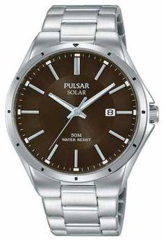 Pulsar Mens Stainless Steel Bracelet Brown Dial PX3137X1
