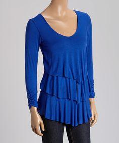 Look at this #zulilyfind! Royal Blue Tiered Scoop Neck Top by GLAM #zulilyfinds