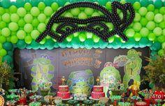 Decoração com balões para o tema Tartarugas Ninjas