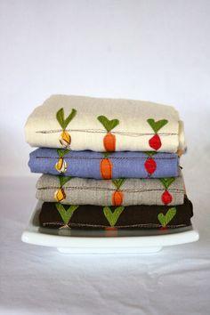 Linen Tea Towel, Hand Appliqued, Garden Vegetable Trio on Linen, Choose Your Color