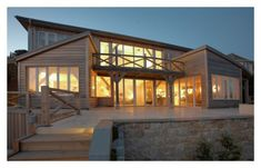 Beach side house in Cornwall at night by Roderick James Architects