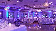 Our Gold Ballroom with Blue Uplighting!