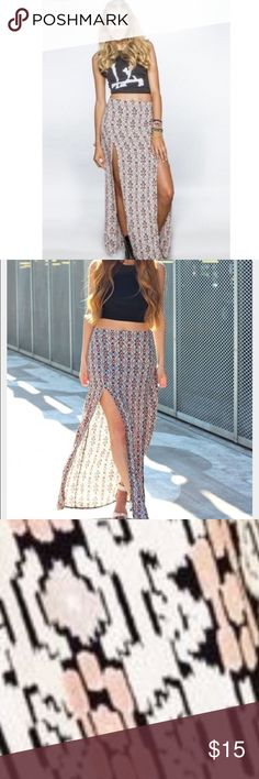 Brandy Melville cotton maxi skirt Brandy Melville size small. Mine only has one slit, not two. Beautiful pattern in perfect condition Brandy Melville Skirts Maxi