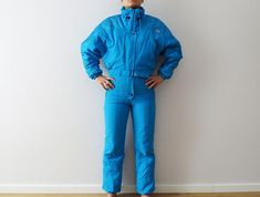 Vintage 80s One Piece Ski Suit Bright Blue One Piece Snowsuit Etirel Hipster Snow Pants Bat Wings Sleeve All in One Suit Winter Wear Snow Gear Small Label Size: 36 Measurements: Waist: 26 - 28 (elastic) Overall length: 60.5 Pant leg inseam: 30 Sleeve: 29 (from neckline) Brand: