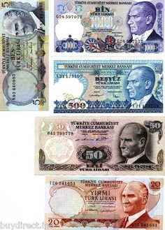 RARE 5 UNCIRCULATED TURKEY WORLD BANKNOTES & MOUNTS DISCOVERY COLLECTION SET