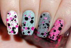 Pink Fallout - Neon Pink & Black Glitter Nail Polish 15ml (.5oz). $9.50, via Etsy.