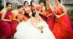 Valentine weddings call for red dresses! love these full length bridesmaids' dresses from this wedding planned by Marrero Events. Bridesmaid Dresses Uk, Bridesmaids, Wedding Dresses, Wedding Reception, Wedding Day, Cape Cod Wedding, Valentines Day Weddings, Wedding Planner, Wedding Inspiration