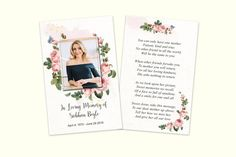 A fine card with modern and clean flowers design. The card measures a handy x (standard credit card size). Modern Wallet, Memorial Cards, Rose Family, Card Sizes, Card Wallet, Flower Designs, Your Cards, Verses, Prayers