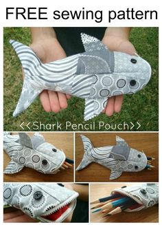 Make a shark pencil pouch using this wonderful FREE sewing pattern.