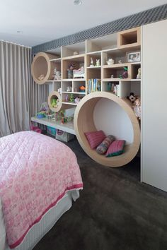 Child bedroom wall. i like the circle wall nook