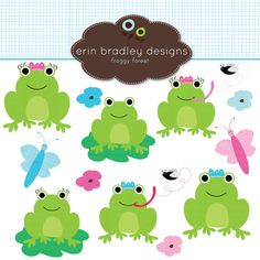 This 12 piece personal & commercial use clipart set includes a variety of frogs, including a frog prince and princess, butterflies and posy flowers. Posy Flower, Frog Theme, Funny Frogs, Branding Services, Cute Turtles, Bullet Journal Art, Baby Shower, Photoshop Elements, Party Printables