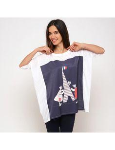 Tunique oversize blanc imprimé Paris marine