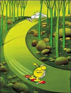 Mordillo - La liebre y la tortuga :)