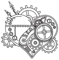 Steampunk Coloring Pages Heart Coloring Book Pages, Coloring Sheets, Embroidery Patterns, Hand Embroidery, Machine Embroidery, Steampunk Accessoires, Steampunk Heart, Bild Tattoos, Urban Threads