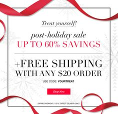 Avon Free Shipping on any $20 online order plus up to 60% off! Use code: YOURTREAT http://eseagren.avonrepresentative.com - Expires: midnight January 2, 2015 #freeshipping #avon #coupon