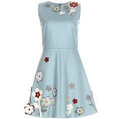 REDValentino Appliqué-Embellished Dress (2,750 SAR) ❤ liked on Polyvore featuring dresses, turquoise, turquoise floral dress, blue flower print dress, blue floral print dress, flower pattern dress and red valentino dress